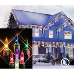 100 Multi Color Icicle Christmas Lights   Green Wire