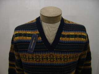 Polo Ralph Lauren Mens L Cashmere Linen Sweater Knit Fair Isle V Neck