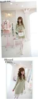 Korean Women Lady Sweet Long Sleeve Hand beading Lace Mint Green Mini
