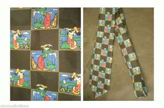DISNEY MICKEY MOUSE GOOFY GOLF GOLFING FABRIC NECKTIE