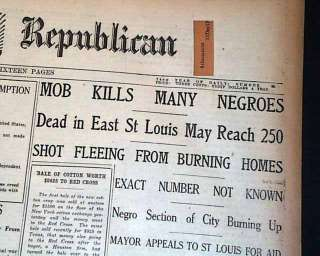 Louis RACE RIOTS Negroes Lynch MOBS Kill Many Negroes 1917 Newspaper