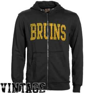 Original Retro Brand Boston Bruins Black Raw Edge Full Zip