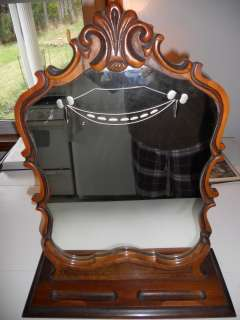 ANTIQUE DRESSING TABLE MIRROR ETCHED GLASS AND CARVED WOOD FRAME