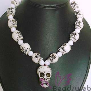 New Tibetan Bone Carved 33P Skull Prayer Beads Necklace