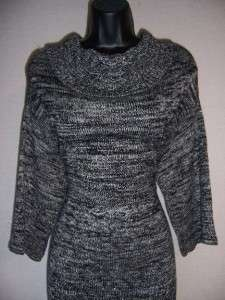 /White 3/4 Sleeve Empire Cowl Neck Sweater Dress L 12 14 NWT