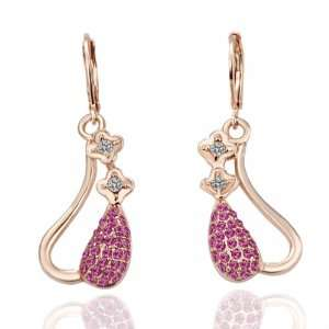 Rose Gold 18K Gold Plated Earrings Swarovski Elements Crystal