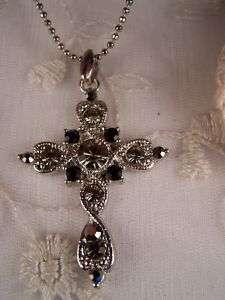 Pretty Black & Smokey Austrian Crystal Cross Necklace