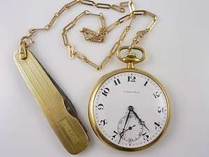CO 18K GOLD MADE FOR LONGINES POCKET WATCH 14K GOLD POCKET KNIFE CHAIN