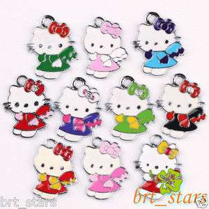 40 PCS Tibetan silver Mix color hello kitty cat Pendants Charms 22