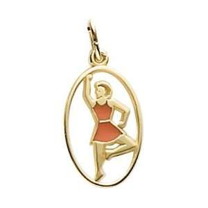 Rembrandt Charms Ladies Dancing Charm, Gold Plated Silver