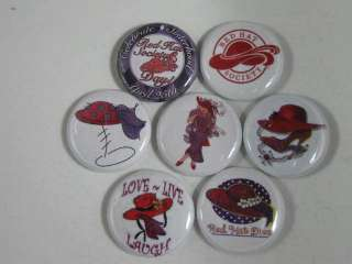 RED HAT SOCIETY 7 FAVORITE PINS BUTTONS BADGE NEW #10