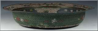 Large Antique Chinese Ming Dynasty Cloisonne Bowl w/ Fish