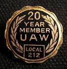 Vintage UAW United Auto Workers 20 YEAR MEMBER Local 212 Screwnut Pin