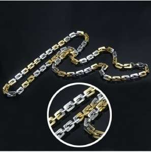 Stainless Steel Gold Silver Tone Chain Necklace Mens