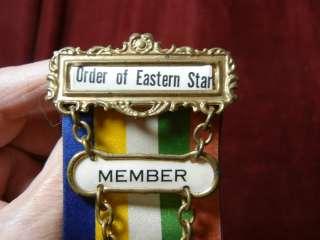 VINTAGE O.E.S. MASONIC EASTERN STAR DOUBLE RIBBON MONMOUTH ILL.
