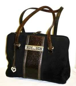 Large.BRIGHTON Black & Brown croc leather TOTE BUSINESS BRIEFCASE bag