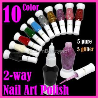 10 Pure Glitter Color 2 Way Nail Art Brush Pen Varnish Polish Set