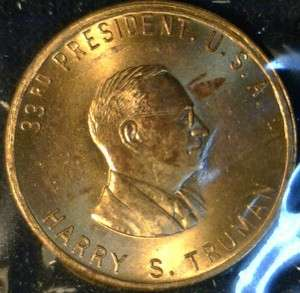 Truman MINT Version #1 Commemorative Bronze Medal   Token   Coin