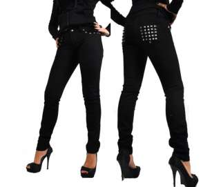 LDS GOTHIC GOTHIC EMO PUNK STUD GOTH BLACK TIGHT PANTS TR391