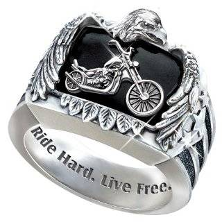 Stainless Steel Motorcycle Bracelet Ride Hard, Live Free