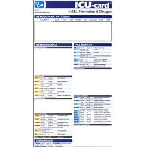 ICU  card ICU, Formulas & Drugs (9780972305822) Arturo A