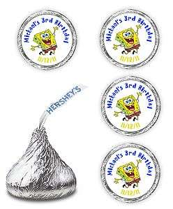 108 SPONGEBOB BIRTHDAY PARTY CANDY HERSHEY KISSES LABELS FAVORS