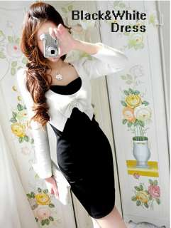 Fashion Elegant OL Ladys Black&White Dress Fake Two Long Sleeves Suit