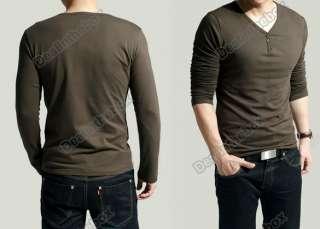 Slim Fits Mens Comfort Lycra Deep V Neck Long Sleeves T Shirt Tunic