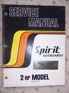 1978 Spirit Outboard Motor Service Manual 2 HP Boat n