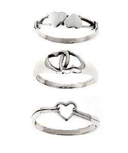 Sterling Silver Heart Three ring Set