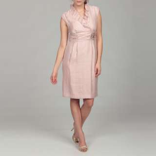 Jessica Howard Womens Pink Ruffle Beaded Dress  Overstock