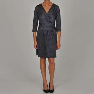Tiana B Womens Grey Hammered Jersey Knit Dress
