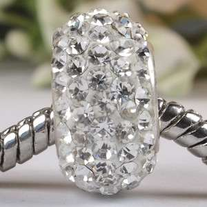 White Swarovski Crystal Sterling Silver Charm Bead