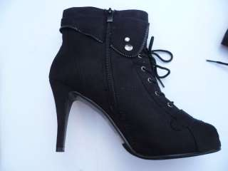 BLACK LADY HIGH HEELS ANKLE BOOTS SIZE 5 10