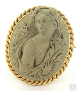ANTIQUE 18K GOLD FANCY FRENCH LAVA ROCK CAMEO PIN/BROOCH