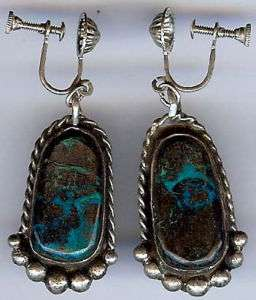 VINTAGE NAVAJO INDIAN STERLING SILVER & TURQUOISE DROP EARRINGS