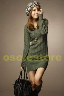 Crochet V neck Long Sleeve Lantern Sleeve Sweater Long Tops Mini Dress