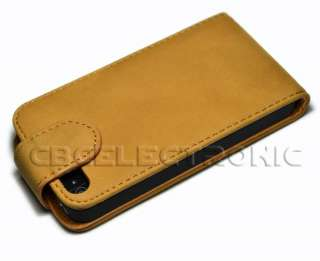 New Flip Leather Hard Case Cover for iPhone 4 4G Brown