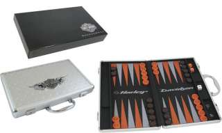 HARLEY DAVIDSON BACKGAMMON GAME SET DIAMOND PLATE CASE
