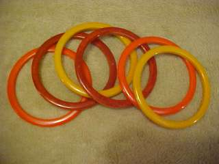 VINTAGE LOT OF 6 BAKELITE SPACER BANGLE BRACELETS ORANGE YELLOW FREE