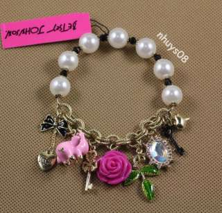PINK FLYING PIG ROSE BETSEY JOHNSON PEARLS STRETCH BRACELET