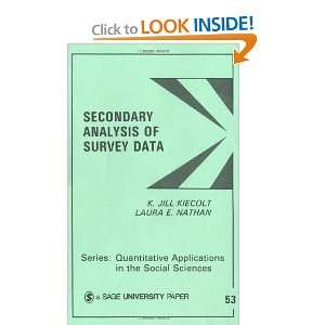 Secondary Analysis of Survey Data (Quantitative