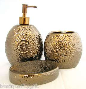 BRONZE/COPPER CERAMIC 3PC BATHROOM SET SOAP DISPENSER