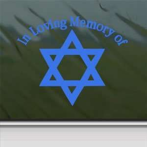 In Loving Memory Star David Blue Decal Window Blue Sticker