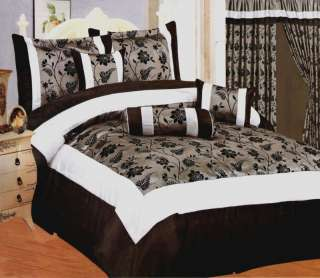 Black/Gray/White Flocking Floral Comforter Set Queen