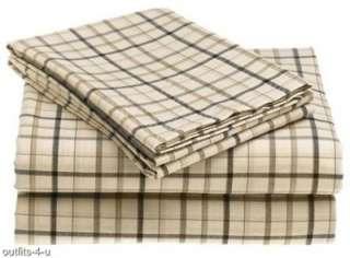 Nautica Belmar Plaid Stripes Sheet Set Tan Brown Black