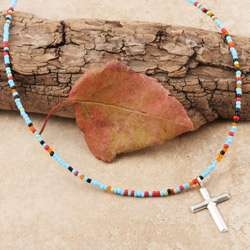Sterling Silver Cross Charm Turquoise Bead Necklace (USA)
