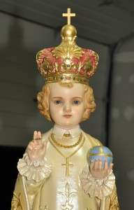 RARE RELIGIOUS ANTIQUE CHURCH GOTHIC INFANT OF PRAGUE STATUE