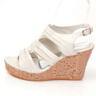 New Womens Wedge Sandals 4 Platform Heel Shoes Ankle Strap Open Toe