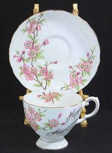 TUSCAN DOGWOOD HAPPY ANNIVERSARY BONE CHINA CUP/SAUCER